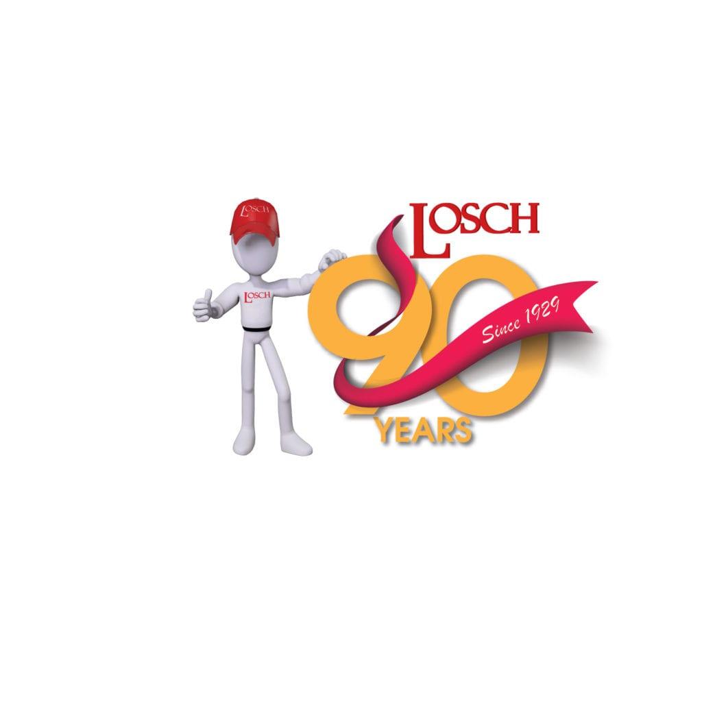 losch mascot next to 90 year logo