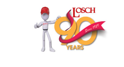 losch mascot next to 90 year logo