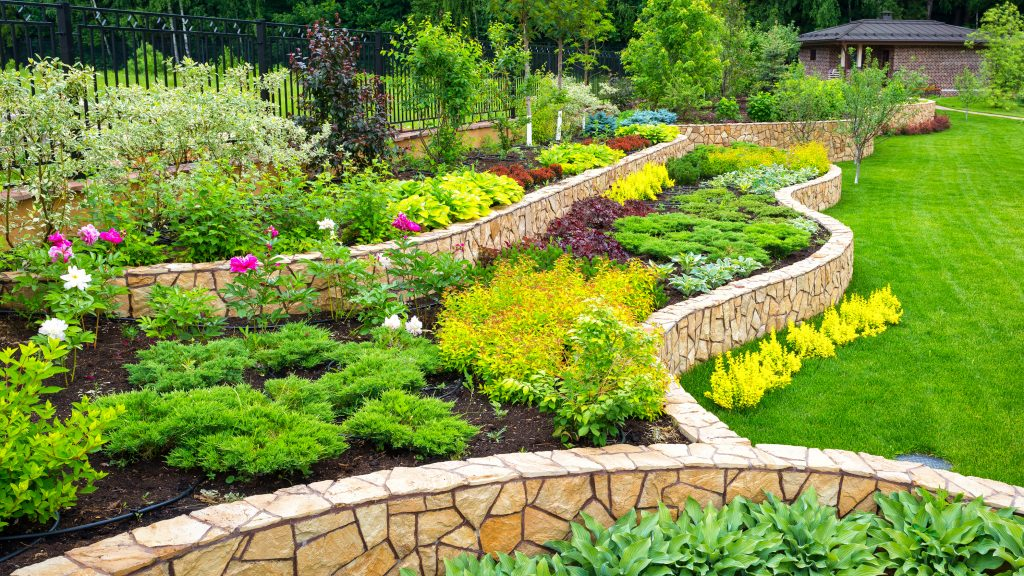 Landscaping Panorama Of Home Garden. Scenic View Of Landscaped G
