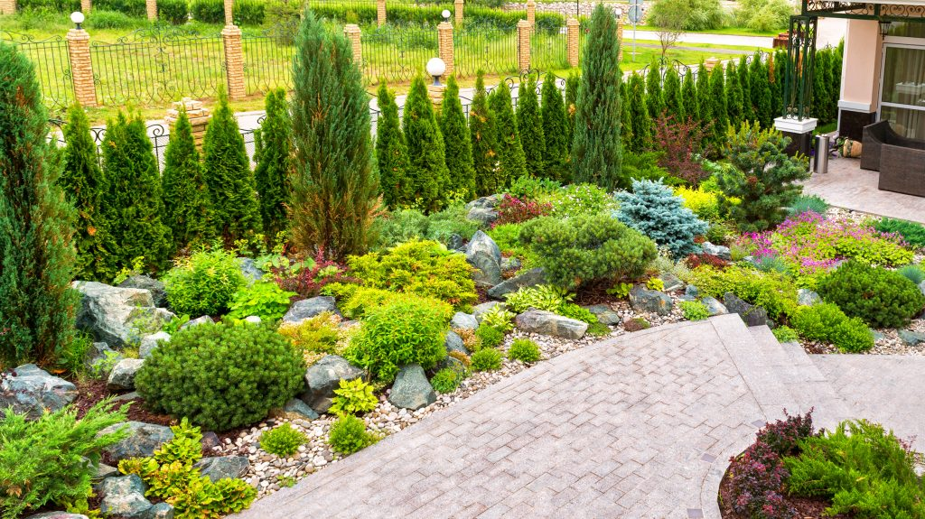 Landscaping Panorama Of Home Garden. Beautiful View Of Landscape